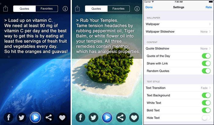 Health Tips iPhone and iPad App Screenshot