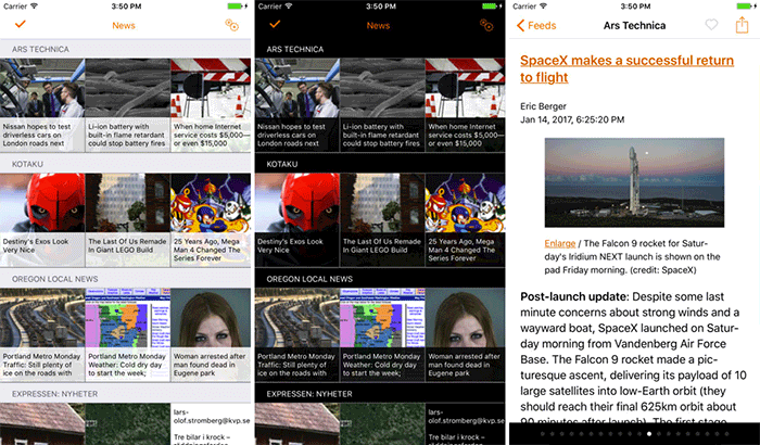 Heartfeed RSS Reader iPhone and iPad App Screenshot