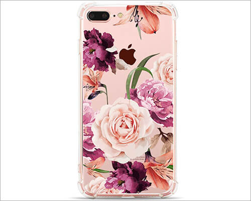Hepix iPhone 7 Plus Clear Floral Case
