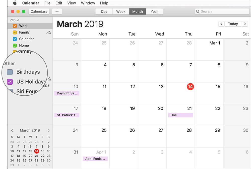 Hide Birthdays in Apple Calendar on Mac