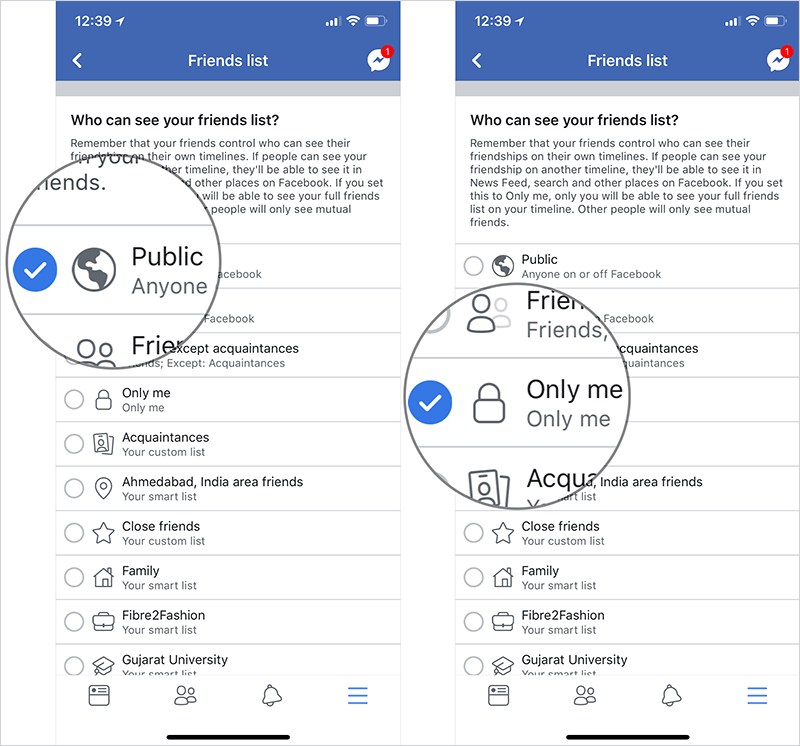 Hide Facebook Friends List on iPhone, iPad, and Android