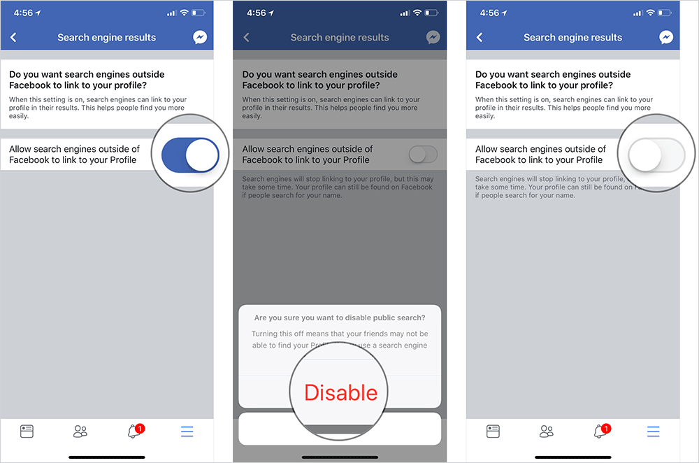 Hide Facebook Profile from Search Engines on iPhone, iPad, and Android Phone