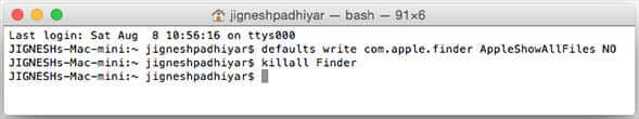 Hide Files in Mac Finder