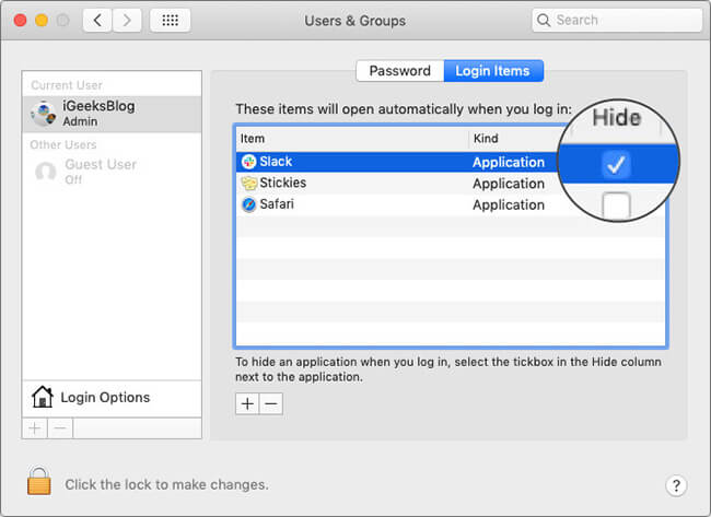 Hide Login Items at System Startup on Mac