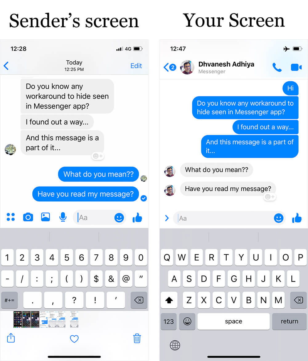 Hide Seen in Messenger on iPhone or Android Phone