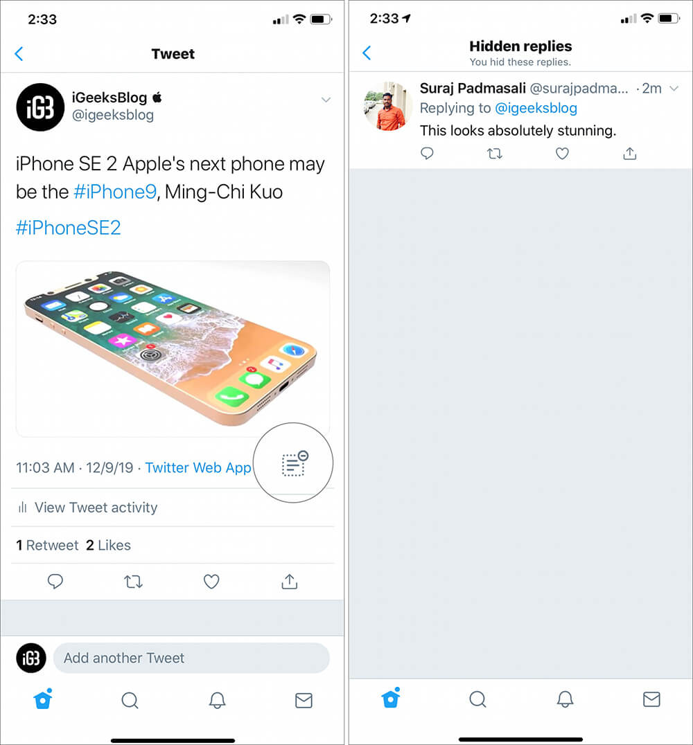 Hide Twitter Replies on iPhone and iPad