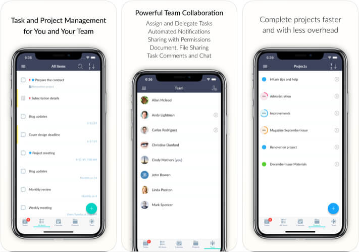 Hitask Team Task Management Apple Watch and iPhone App Screenshot