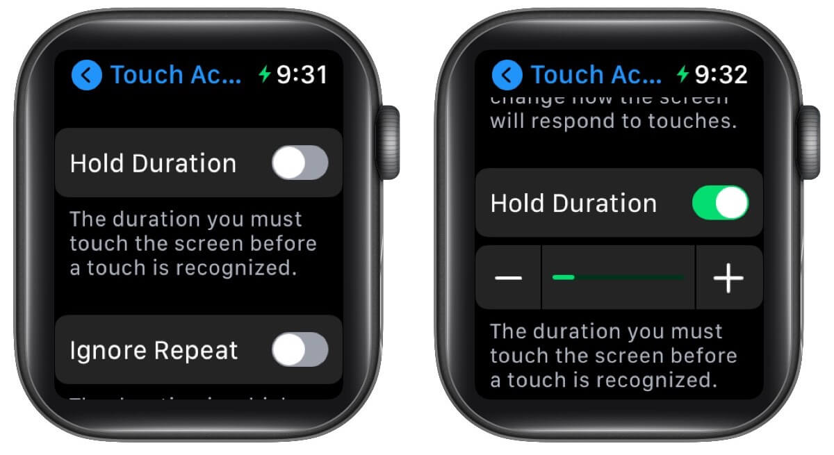 Hold Duration and Ignore Repeat options in TouchAccommodations