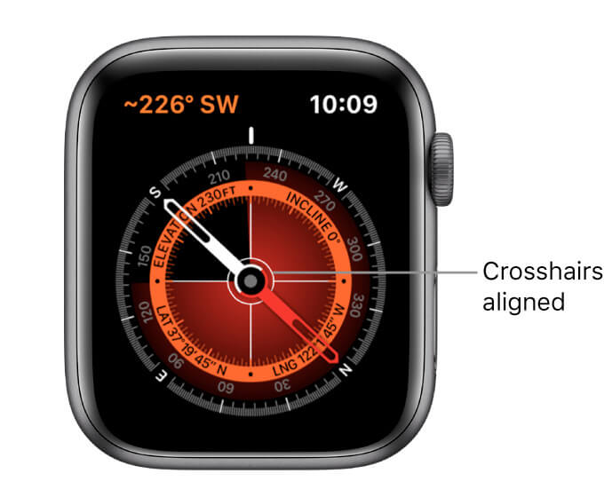 Hold your Apple watch flat to align the crosshairs at Center of the Compass to get the most accurate result