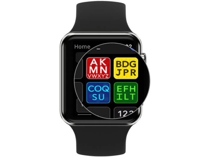 Home Screen of Modality Type with four squares on Apple Watch