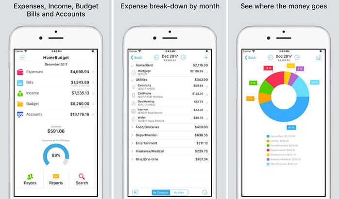 HomeBudget Personal Finance iPhone and iPad App Screenshot