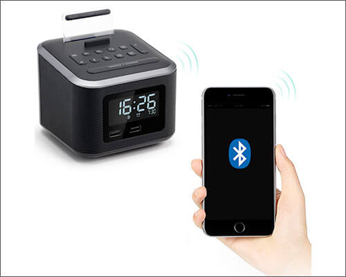 Homtime Clock Radio Docking Station for iPhone 6-6s Plus