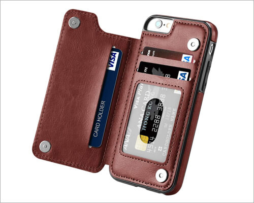 Hoofur iPhone 6 6s Premium Leather Wallet Case