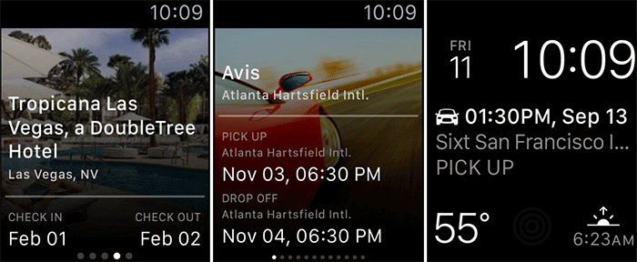 Hotwire Apple Watch and iPhone Travel App Screenshot