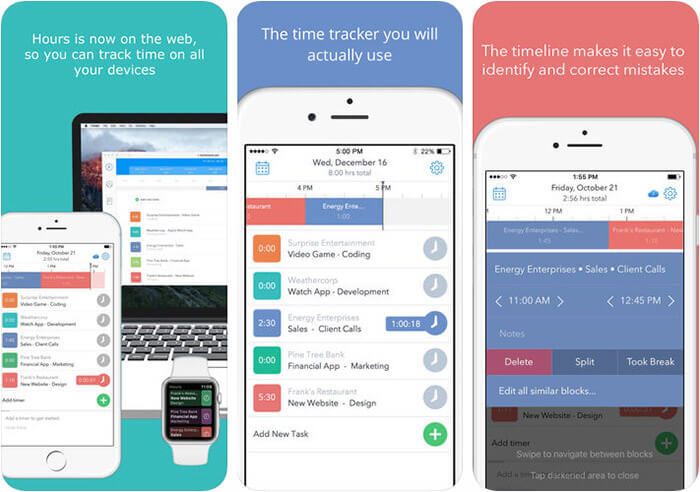 Hours Time Tracking iPhone and iPad App Screenshot