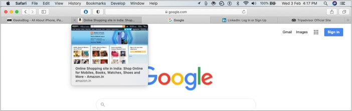 Hover over a tab to see a live preview of that tab in safari
