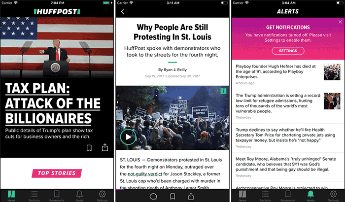 HuffPost News iPhone and iPad App Screenshot