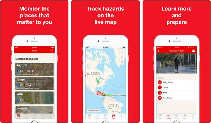 Hurricane American Red Cross iPhone and iPad App Screenshot