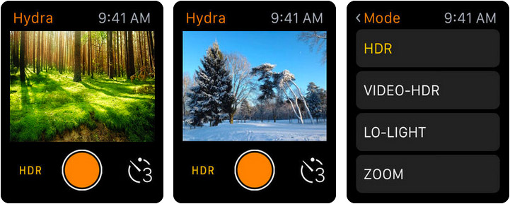 Hydra Apple Watch Photo and Video App Screenshot