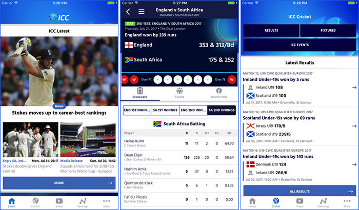ICC Cricket iPhone App Screenshot