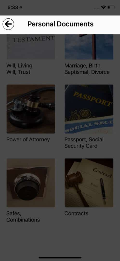 Important Documents Section in EZ Estate iPhone and iPad App
