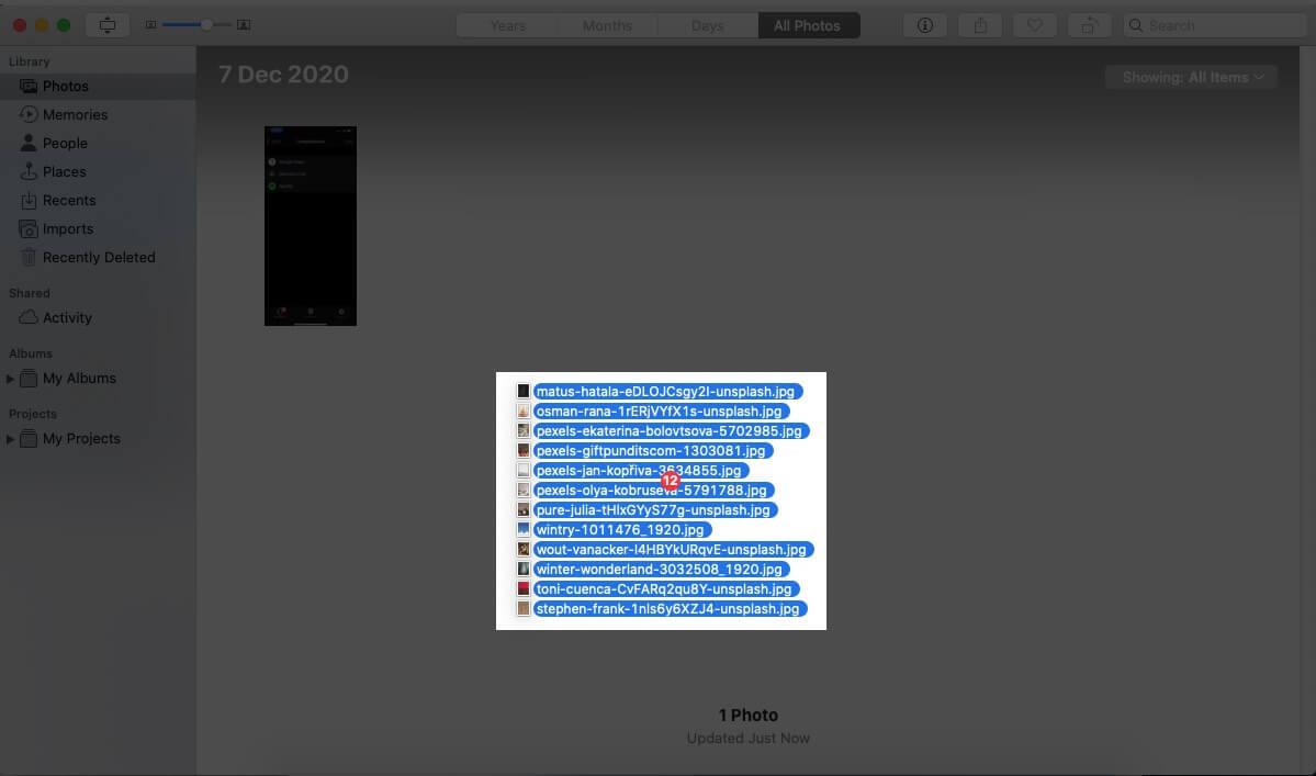 Importing Google Photos in Mac