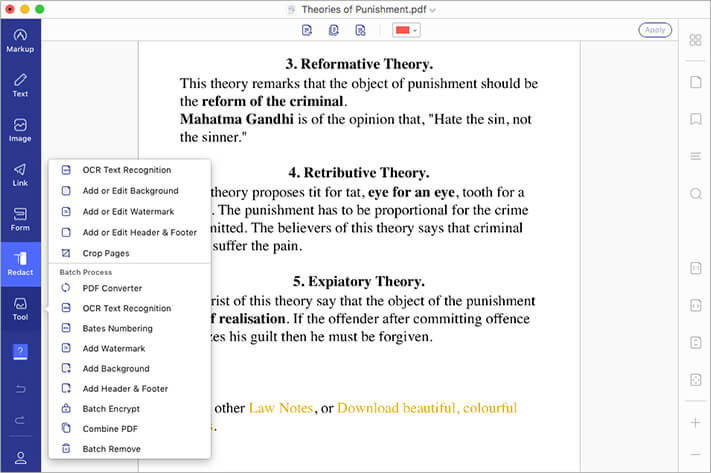 Impressive Tools OCR Text Recognition in PDF using PDFelement 7 for Mac