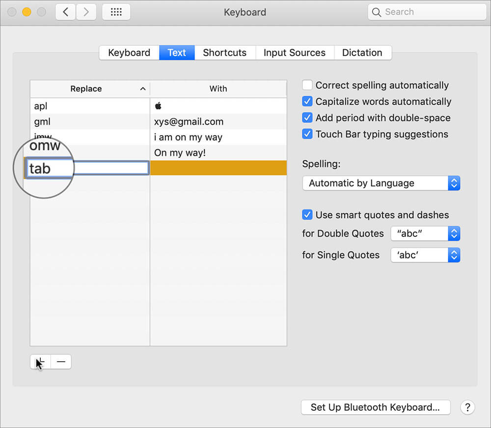 In Replace field, enter tab in Mac Keyboard Settings