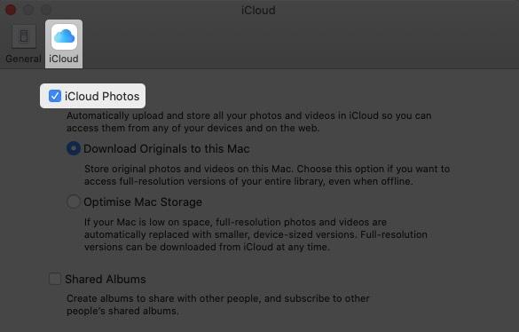 In iCloud Tab Enable iCloud Photos on Mac