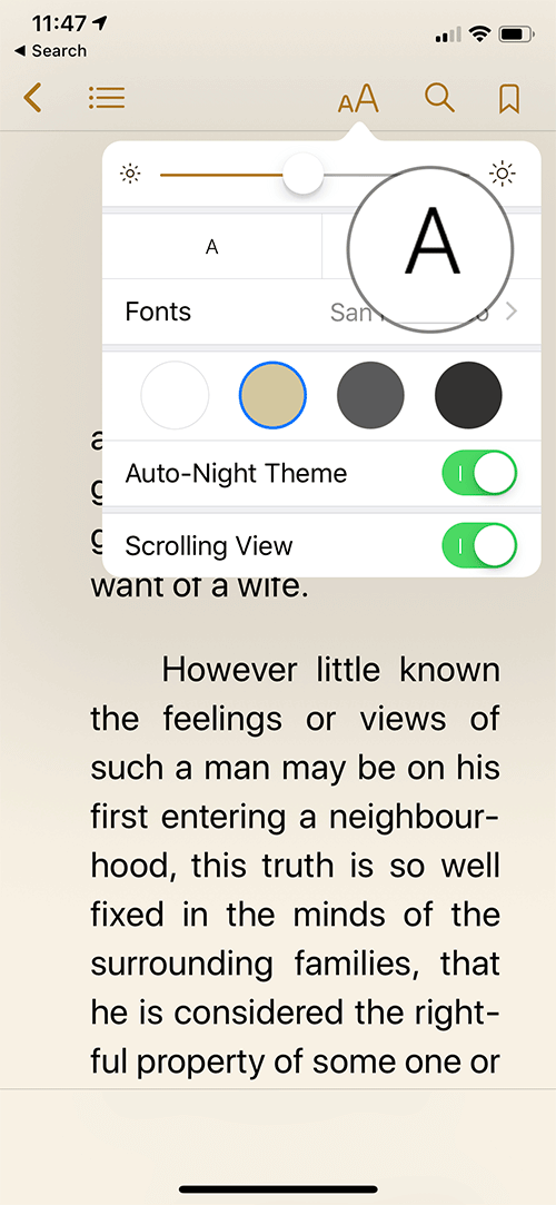 Increase Font Size in iBooks on iPhone or iPad