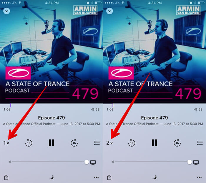 Increase Podcast Playback Speed on iPhone