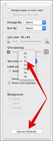 Increase Text Size of Finder Font on Mac