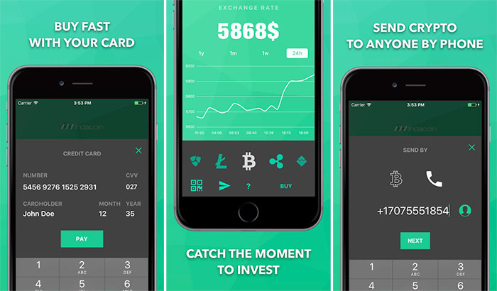 Indacoin iPhone and iPad Cryptocurrency Trading App Screenshot