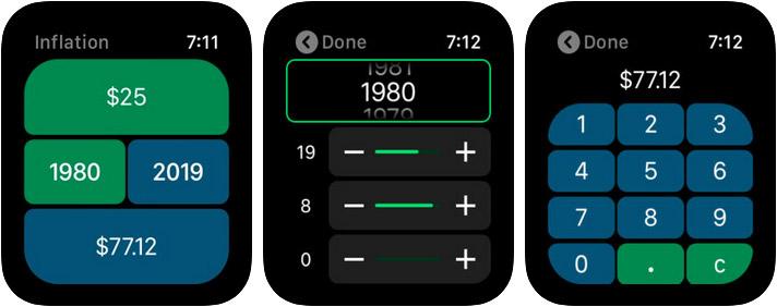 Inflation Calculator Apple Watch App Screenshot