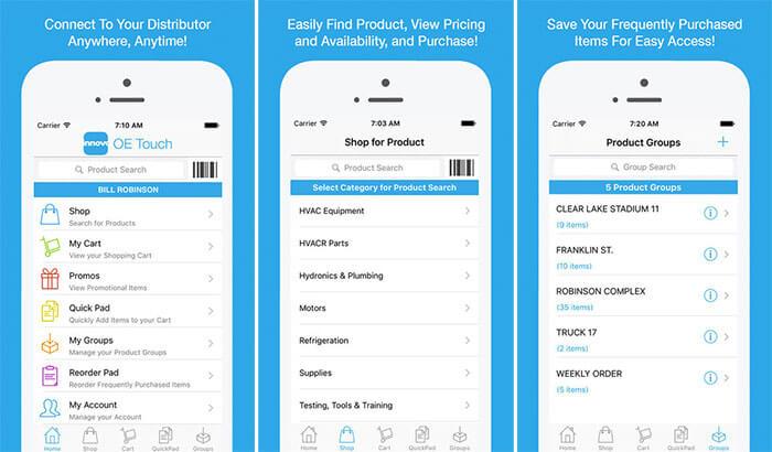 Innovo OE Touch iPad App Screenshot