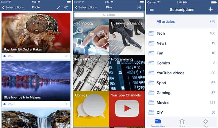 Inoreader RSS Reader iPhone and iPad App Screenshot