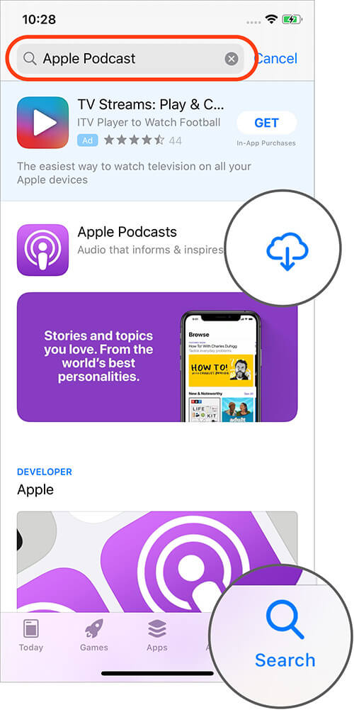 Install Podcasts from App Store on iPhone