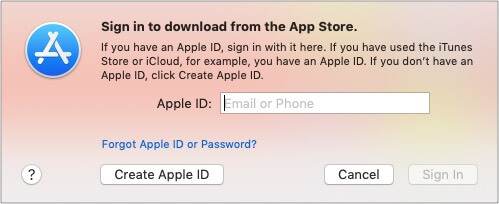 Install an app in App store and select Create new ID on Mac