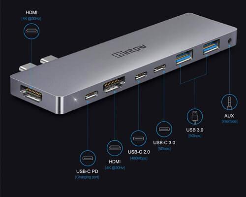 Intpw USB C Hub Multiport Adapter for Macbook Pro