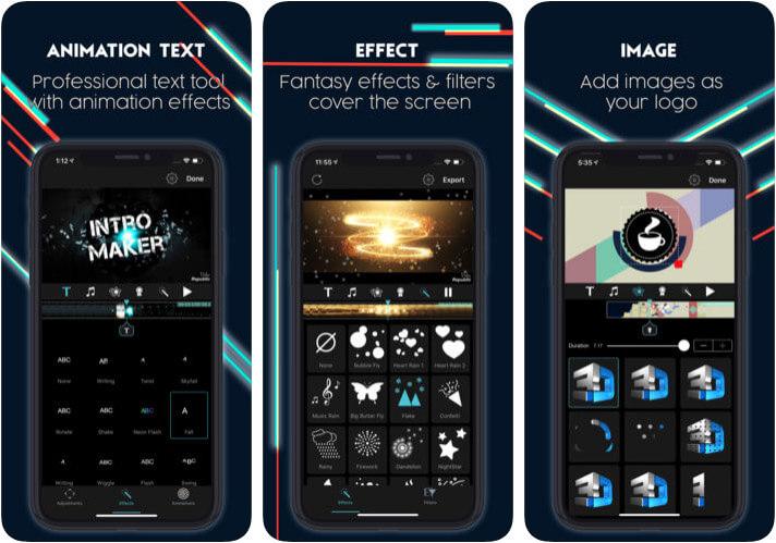 Intro Maker Effects Video Edit iPhone and iPad App Screenshot