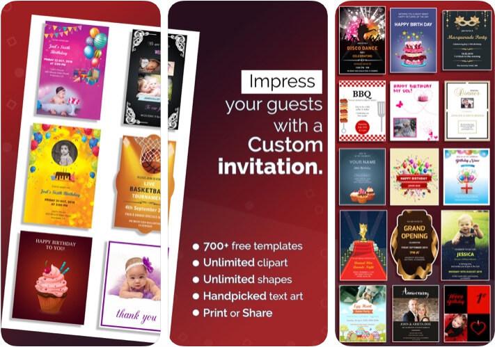 Invitation Card Maker, ecards iPhone and iPad App Screenshot