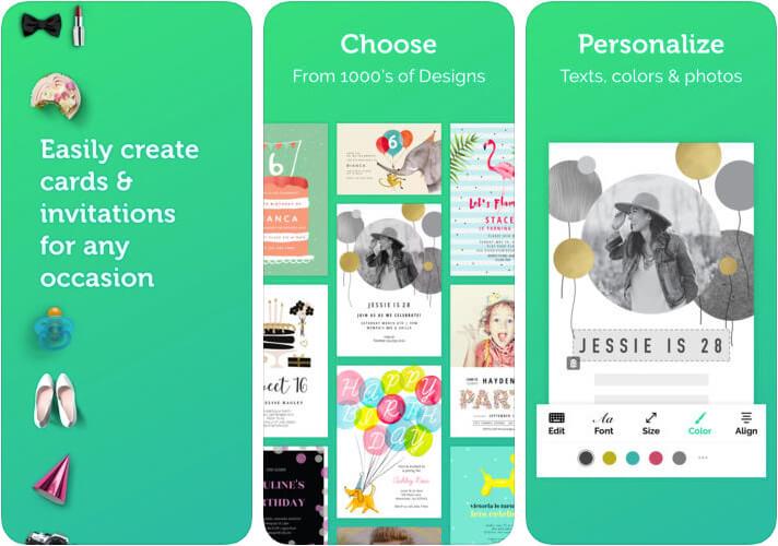 Invitation Card Maker iPad and iPad App Screenshot