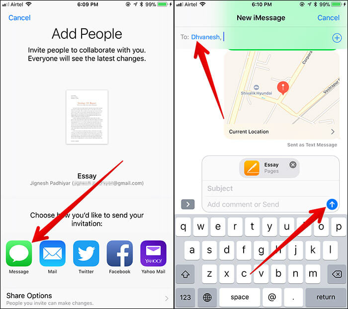 Invite People to Edit Document in Files App