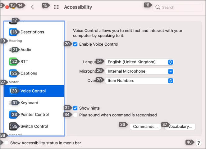 Item Nmbers in Voice Control on Mac