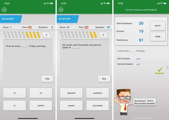 Johnny Grammar Word Challenge iPhone and iPad App Screenshot