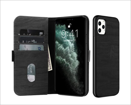 Juqitech iPhone 11 Pro Wallet Case with Magnetic Closure