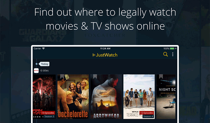 JustWatch Watch Movies and TV Shows iPad App Screenshot