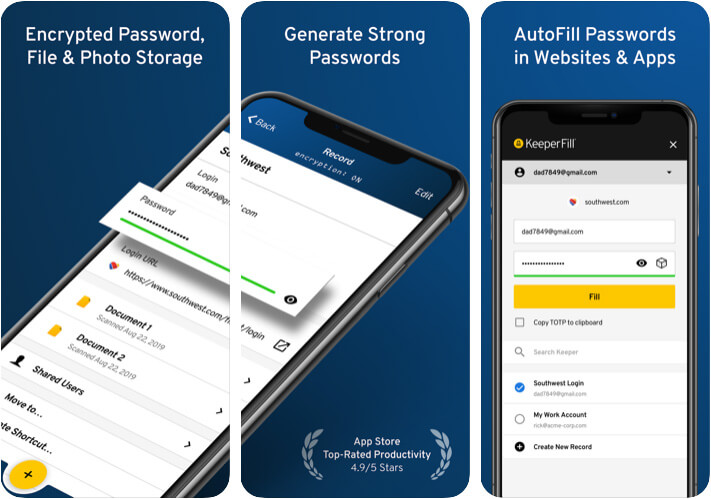 Keeper Password Manager iPhone and iPad App Screenshot