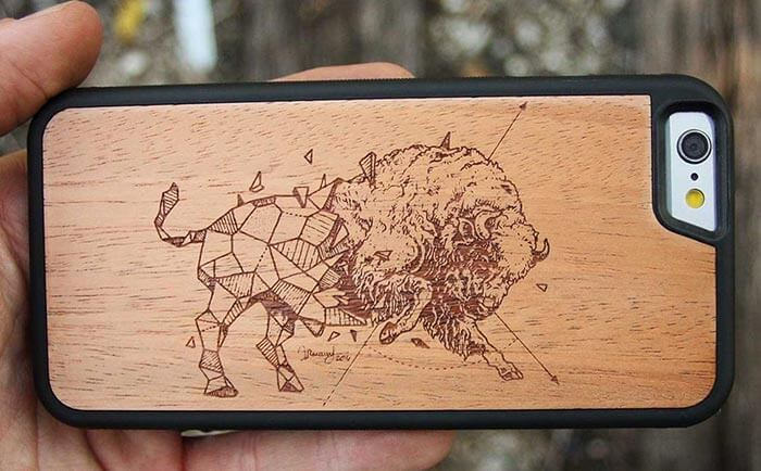 Kerby Rosanes Geometric Bison Wooden Cases by Carved