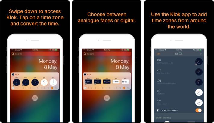 Klok Time Zone Converter iPhone and iPad App Screenshot